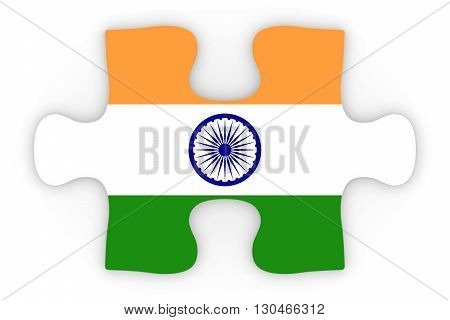 Indian Flag Puzzle Piece Top Down Orthographic 3D Illustration