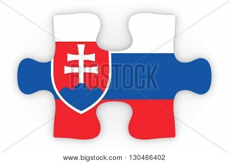 Slovakian Flag Puzzle Piece Top Down Orthographic 3D Illustration