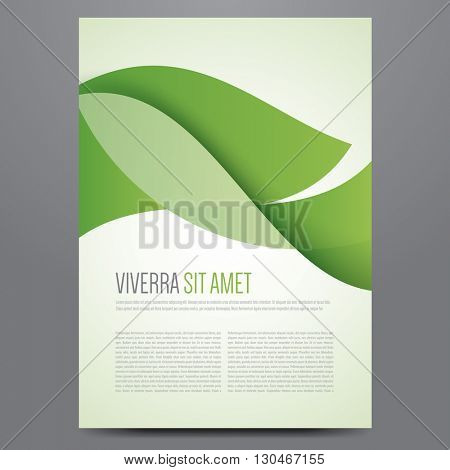 Flyer, brochure, poster, annual report, magazine cover vector template. Modern green corporate design.