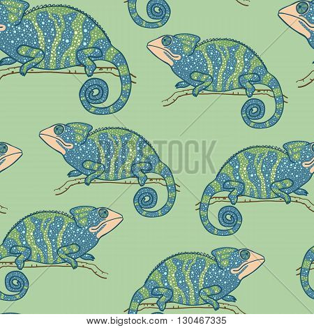 Seamless wallpaper with chameleon on green background. Multycolored lizard. Seamless pattern with hand drawn chameleon