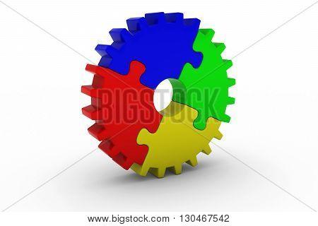 Multicoloured Jigsaw Puzzle Cog Wheel on White Background - 3D Illustration
