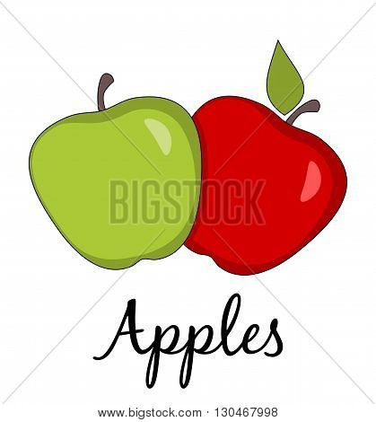 Two apples with long shadow. Caption. Healthy eating symbol. Healthy lifestyle symbol. Isolated. White background