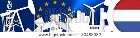 Energy and Power icons set. Header banner with Netherlands flag. Sustainable energy generation and heavy industry.European Union flag backdrop. 3D rendering