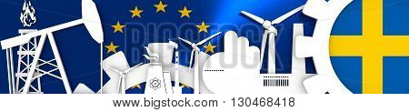 Energy and Power icons set. Header banner with Sweden flag. Sustainable energy generation and heavy industry.European Union flag backdrop. 3D rendering