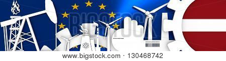 Energy and Power icons set. Header banner with Latvia flag. Sustainable energy generation and heavy industry.European Union flag backdrop. 3D rendering