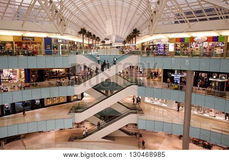 Dallas, TX, May, 2016: Modern Shopping Mall in the US, it appears less people are shopping in this election year.