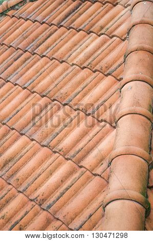 Close up of the brown clay roof tiles