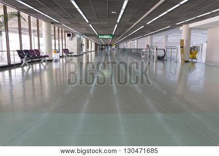 BANGKOK, THAILAND - MAY 11: interior corridor in airport terminal building in Don Mueang International Airport in Bangkok Thailand on May 11 2016.