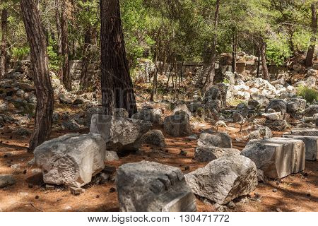 Ruins in Antique city of Phaselis, Antalya Destrict, Turkey