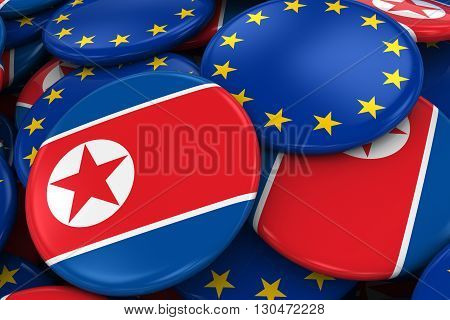 Flag Badges Of North Korea And Europe In Pile - Concept Image For North Korean And European Relation