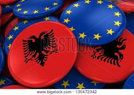 Flag Badges Of Albania And Europe In Pile - Concept Image For Albanian And European Relations - 3D I