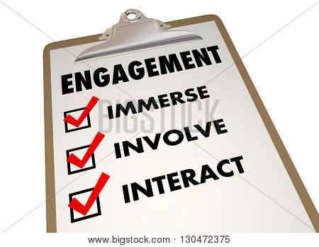 Engagement Checklist Clipboard Interact Invovlement 3d Illustration