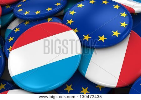 Flag Badges Of Luxembourg And Europe In Pile - Concept Image For Luxembourgian And European Relation