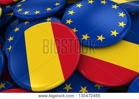 Flag Badges Of Romania And Europe In Pile - Concept Image For Romanian And European Relations - 3D I