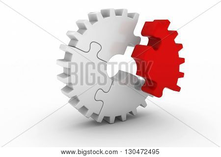 White Jigsaw Puzzle Cog Wheel With Offset Red Piece - 3D Illustration
