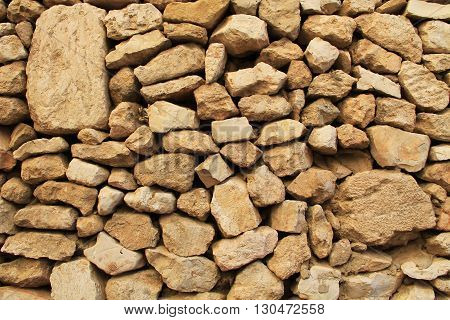 Close-up of a stone wall outside the temple mount, Jerusalem, Israel.  Wall has two large stones for copy space.
