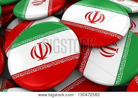 Pile Of Iranian Flag Badges - Flag Of Iran Buttons Piled On Top Of Each Other - 3D Illustration