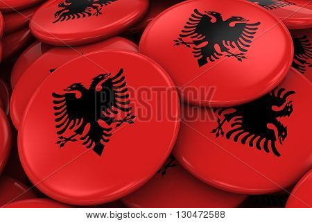 Pile Of Albanian Flag Badges - Flag Of Albania Buttons Piled On Top Of Each Other - 3D Illustration