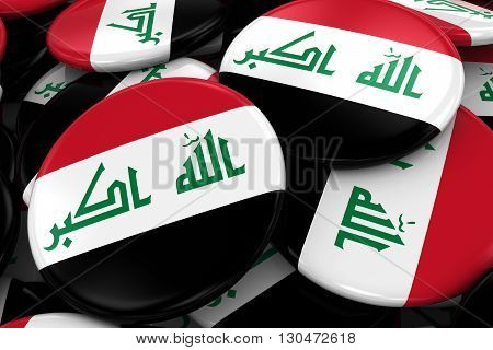 Pile Of Iraqi Flag Badges - Flag Of Iraq Buttons Piled On Top Of Each Other - 3D Illustration