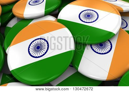 Pile Of Indian Flag Badges - Flag Of India Buttons Piled On Top Of Each Other - 3D Illustration