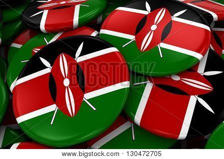 Pile Of Kenyan Flag Badges - Flag Of Kenya Buttons Piled On Top Of Each Other - 3D Illustration
