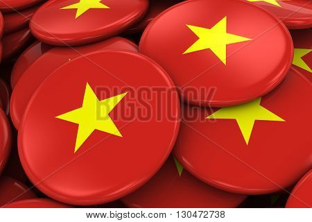 Pile Of Vietnamese Flag Badges - Flag Of Vietnam Buttons Piled On Top Of Each Other - 3D Illustratio