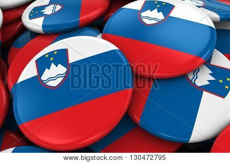 Pile Of Slovenia Flag Badges - Flag Of Slovenian Buttons Piled On Top Of Each Other - 3D Illustratio