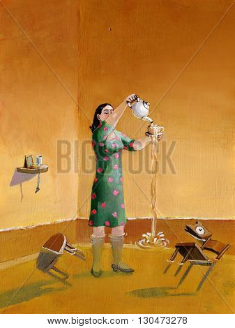 a woman pours the tea up to enlarge the house
