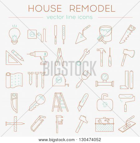 House_remodel_line_icons_orange_blue