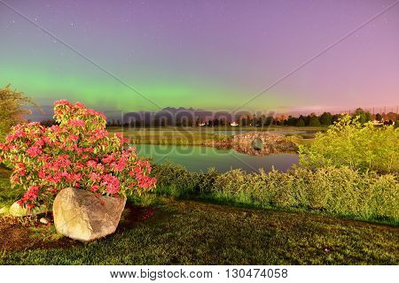 Meadow Gardens Golf Field And Golden Ears Mount With Aurora