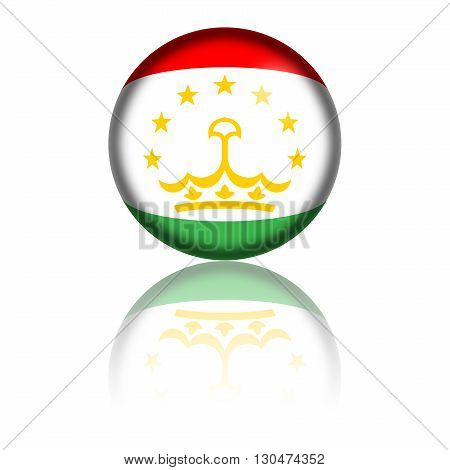 Sphere of Tajikistan flag with reflection at bottom, 3D rendering