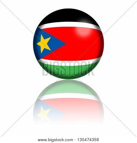 Sphere of South Sudan flag with reflection at bottom, 3D rendering