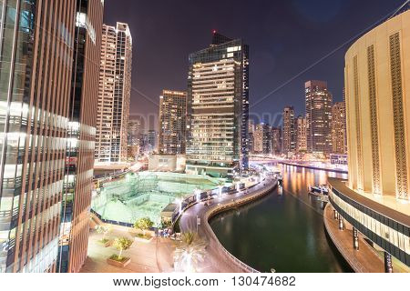 Dubai - MARCH 26 2016: Marina district on March 26 in UAE Dubai. Marina district is popular residential area in Dubai