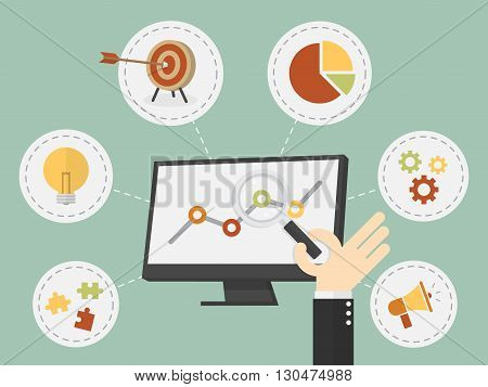Flat design vector illustration business analysis SEO