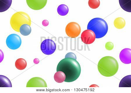 Bright and colorful balls on white background. Cheerful seamless pattern.