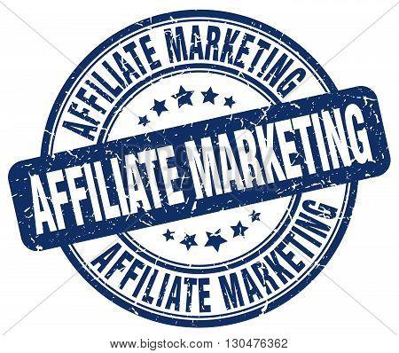 affiliate marketing blue grunge round vintage rubber stamp