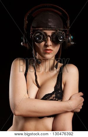 Sexy Steampunk Girl. Woman In Lingerie And Steampunk Accesories