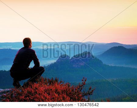 Tall Hiker In Black In Squatting Position On A Rock In Heather Bushes, Enjoy The Scenery