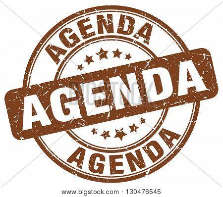 agenda brown grunge round vintage rubber stamp