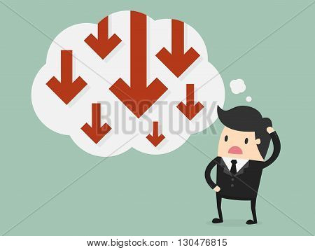 Business failure. Young worried businessman thinking about business graph with negative trend