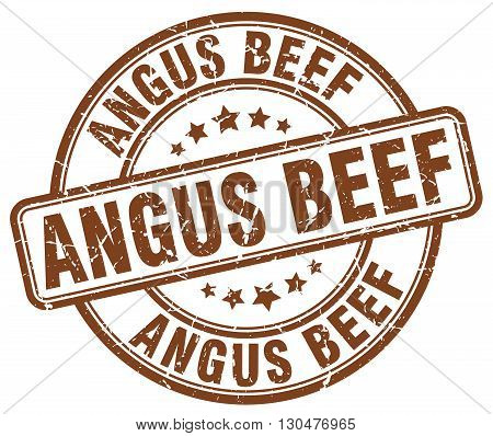 angus beef brown grunge round vintage rubber stamp