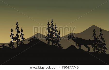 Silhouette of one allosaurus in hills at the morning