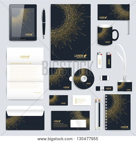 Black set of vector corporate identity template. Modern business stationery mock-up. Medical branding design molecule. Round golden Logo. Molecule background. Medicine, science, technology design