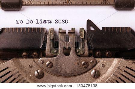 Vintage Typewriter  - To Do List 2020