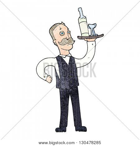 freehand textured cartoon waiter