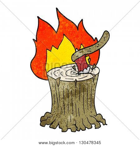 freehand textured cartoon axe in a flaming tree stump