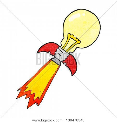 freehand textured cartoon lightbulb rocket ship