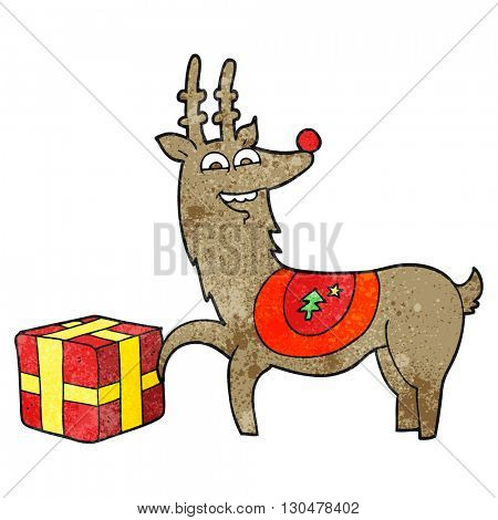 freehand textured cartoon christmas reindeer with present