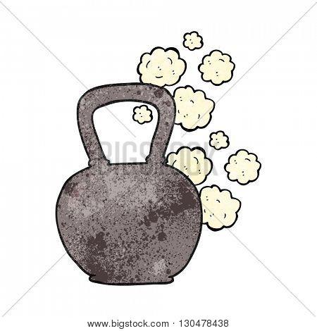 freehand textured cartoon kettle bell