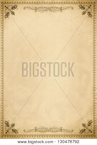 Old paper background with vintage decorative border and copy space for the text. Natural old paper texture and old-fashioned frame.